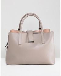 graue Shopper Tasche aus Leder von ASOS DESIGN