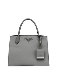 graue Shopper Tasche aus Leder von Prada