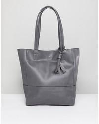 graue Shopper Tasche aus Leder von Qupid