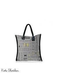 graue Shopper Tasche aus Segeltuch mit geometrischen Mustern