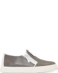 graue Slip-On Sneakers aus Leder