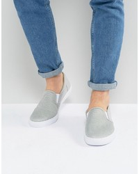 graue Slip-On Sneakers aus Leder von Asos