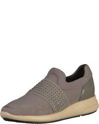 graue Slip-On Sneakers aus Leder von Geox