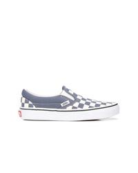 graue Slip-On Sneakers aus Segeltuch mit Karomuster