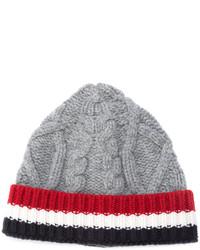 graue Strick Mütze von Thom Browne