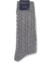 graue Strick Socken