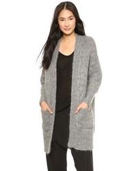 graue Strick Strickjacke mit einer offenen Front von DKNY