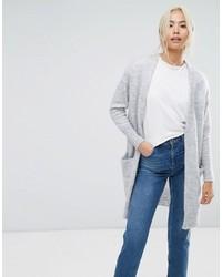 graue Strick Strickjacke mit einer offenen Front von Selected
