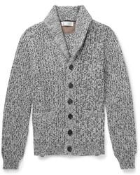 graue Strickjacke mit einem Schalkragen von Brunello Cucinelli