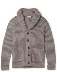 graue Strickjacke mit einem Schalkragen von Burberry