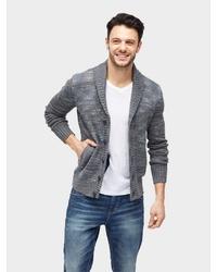 graue Strickjacke mit einem Schalkragen von Tom Tailor