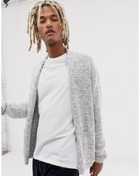graue Strickjacke mit einer offenen Front von Pull&Bear