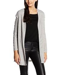 graue Strickjacke mit einer offenen Front von VILA CLOTHES
