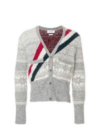 12acd3103023 Modische graue Strickjacke mit Norwegermuster für Herren für Winter ...