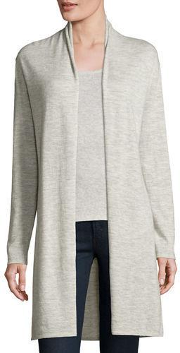 graue Strickjacke mit einer offenen Front von Neiman Marcus