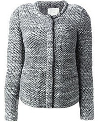 graue Tweed-Jacke