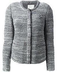 graue Tweed-Jacke