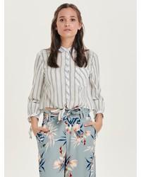 graue vertikal gestreifte Bluse mit Knöpfen von Only