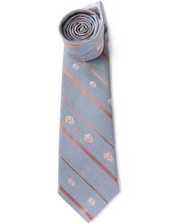 graue vertikal gestreifte Krawatte von Alexander McQueen