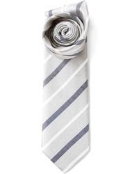 graue vertikal gestreifte Krawatte von Brioni