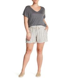 graue vertikal gestreifte Leinen Shorts