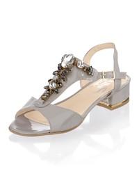 graue verzierte Leder Sandaletten von Alba Moda