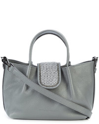 graue verzierte Shopper Tasche aus Leder von Fabiana Filippi