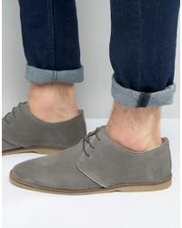 Graue Wildleder Derby Schuhe von Asos