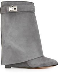 graue Wildleder mittelalte Stiefel von Givenchy