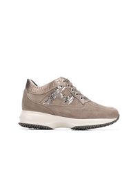 graue Wildleder niedrige Sneakers von Hogan