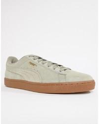 graue Wildleder niedrige Sneakers von Puma