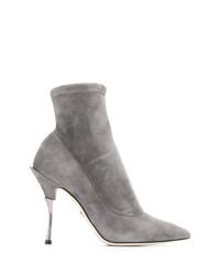 graue Wildleder Stiefeletten von Dolce & Gabbana