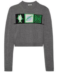 grauer bedruckter kurzer Pullover