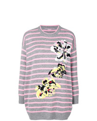 grauer bedruckter Oversize Pullover von Ermanno Scervino