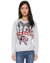 grauer bedruckter Oversize Pullover von Kenzo