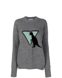 grauer bedruckter Oversize Pullover von Prada