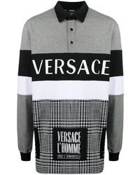 grauer bedruckter Polo Pullover von Versace
