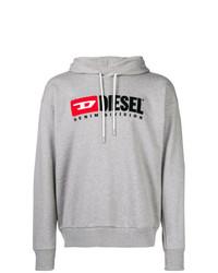 grauer bedruckter Pullover mit einem Kapuze von Diesel