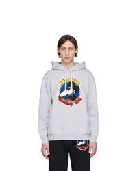 grauer bedruckter Pullover mit einem Kapuze von Moschino