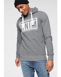 grauer bedruckter Pullover mit einem Kapuze von Tom Tailor Denim