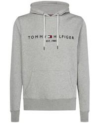 grauer bedruckter Pullover mit einem Kapuze von Tommy Hilfiger