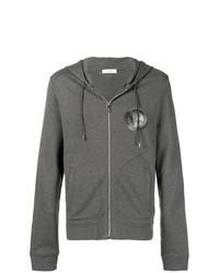 grauer bedruckter Pullover mit einem Kapuze von Versace Collection