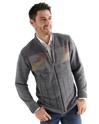 grauer bedruckter Pullover mit einem Reißverschluß von Classic