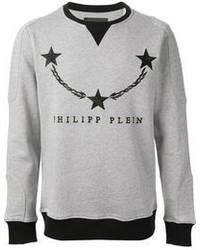 grauer bedruckter Pullover mit einem Rundhalsausschnitt