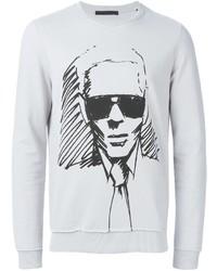 grauer bedruckter Pullover mit einem Rundhalsausschnitt von Karl Lagerfeld