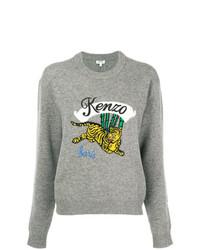 grauer bedruckter Pullover mit einem Rundhalsausschnitt von Kenzo