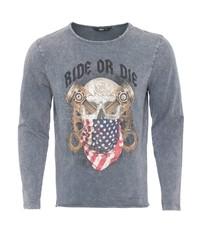 grauer bedruckter Pullover mit einem Rundhalsausschnitt von KINGKEROSIN