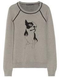 grauer bedruckter Pullover mit einem Rundhalsausschnitt von Marc by Marc Jacobs