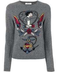 grauer bedruckter Pullover mit einem Rundhalsausschnitt von Valentino