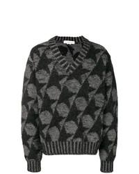 grauer bedruckter Pullover mit einem V-Ausschnitt von Golden Goose Deluxe Brand